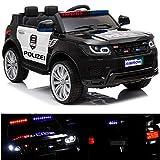 Polizei Kinderauto Polizeiauto mit Funkgerät Sirene und Martinshorn Kinderfahrzeug Kinder Elektroauto Gefedert Hilfsrollen