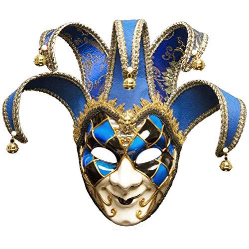 Robo Venezianische Maske Joker Karneval Gesichtsmaske Fasching Vintage Maskerade Party Kostüm Halloween (Rot)