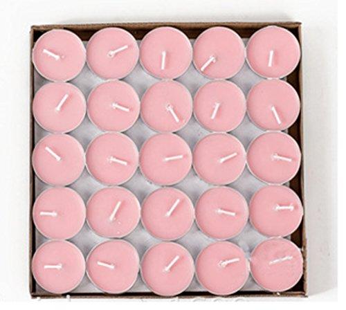 HorBous 50 por Caja - 1.5-2 Horas Que queman el Tiempo de la Calidad Unscented el té se Enciende Velas (Rojo, púrpura, Blanco, Color de Rosa) (Rosa)