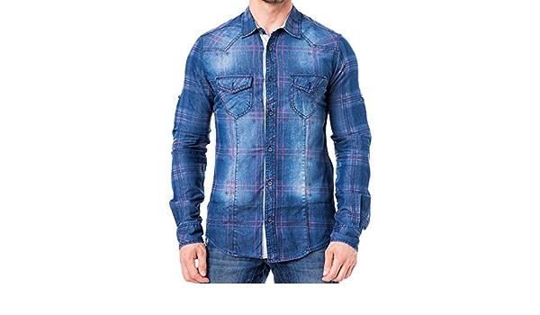 KDWN Herren Jeans Hemd Poloshirt Freizeit Used Style T-Shirt 14045 Blau//Rot