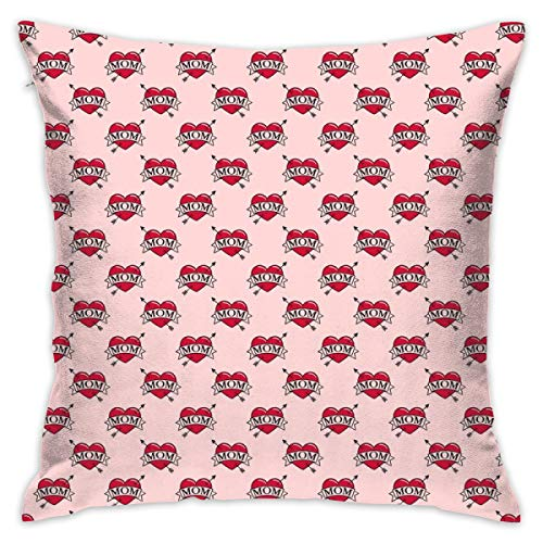 guolinadeou Beautifully Decorated Home (Micro Scale) Mom Heart Tattoo - Red On Pink C19BS Throw Pillow Case 18X18 Inches (I Heart Mom-tattoo)