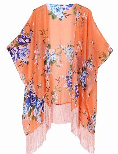 Women's Floral Aztec Leopard Light Chiffon Beachwear Cover-ups Kimono Cardigan Outfit Soul Young - 51RXIrujvGL - Women's Floral Aztec Leopard Light Chiffon Beachwear Cover-ups Kimono Cardigan Outfit Soul Young