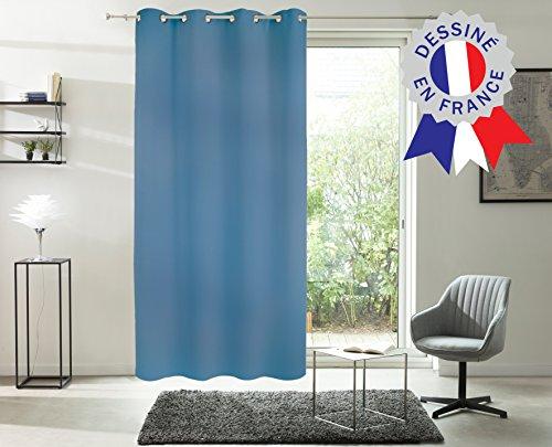 Belles Demeures - Rideau à Œillets Isolant Thermique Doublure Polaire - Bleu - 140x240cm
