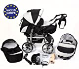 3-in-1 Travel System with Baby Pram, Car Seat, Pushchair & Accessories, Black