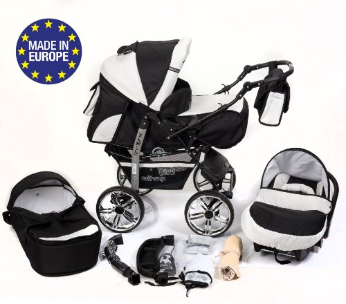 3-in-1 Travel System with Baby Pram, Car Seat, Pushchair & Accessories, Black & White 51RXJUaaI8L