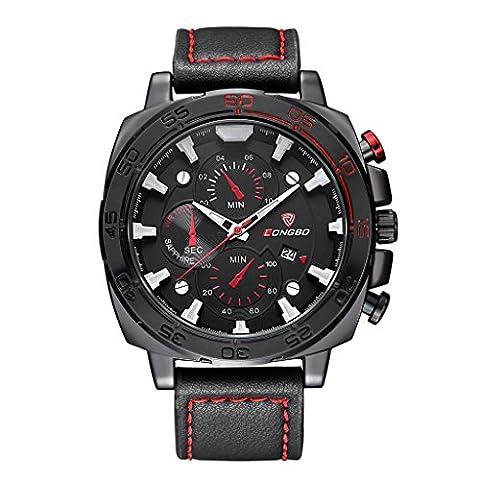 Longbo montre de luxe en cuir pour hommes Sports montres