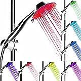 Baby Pig LED Brause Duschkopf Verstellbare Handbrause Fach Funktionen Brausekopf Regenbrause mit Licht Farbwechsel 7 Farben Automatic Für Dusche Badezimmer.