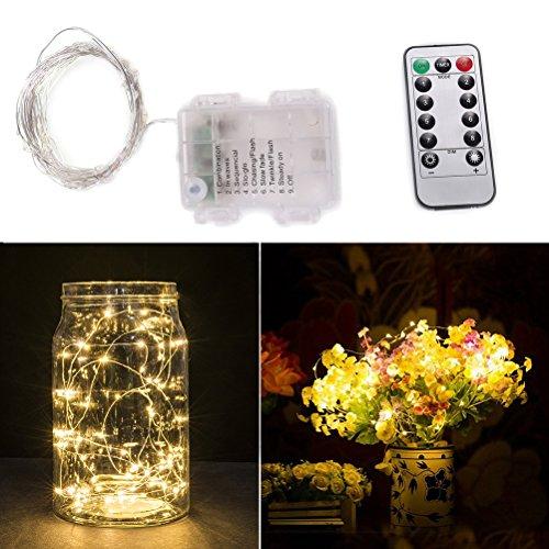 LEDMOMO LED Luces de cadena regulables con control remoto, 16 pies 50 LED Luces de hadas impermeables para dormitorio, patio, jardín, patio, fiestas, decoración de la boda (luz blanca cálida)