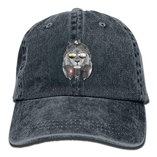 Hoswee Unisex Kappe/Baseballkappe, Fashion Lion with A Crown and Sunglasses and A Headset Denim Hat Baseball Cap