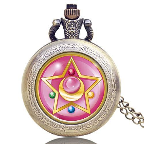 Damen-Taschenuhr, Bronze Quarz Taschenuhr mit Halskette, Frauen (Sailor ()