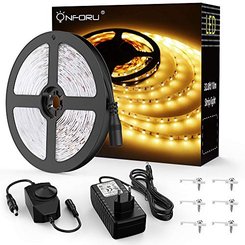 Onforu 10M Tira LED Regulable, Blanco Cálido 3000K LED Strip, Kit Cinta Flexible, 24V Franja...