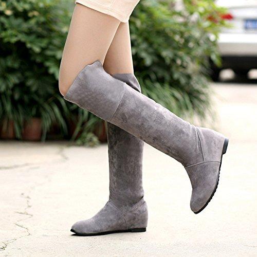 ZQ@QXregalo di Natale In Europa e negli Stati Uniti il codice con laumento in basso sopra il ginocchio Stivali Stivali Stivali Stivali gray