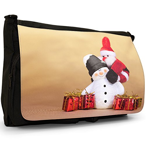 Fancy A Bag Borsa Messenger nero Silver Star on Snowy Christmas Tree Santa Claus Jumping Onto Snowman's Back