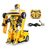 2.4Ghz Transformer Remote Control Car - Talking Auto Bot RC Drifting Car & Robot - Sound FX Lights - One Touch Transform - PL9131 Rechargeable Radio Controlled RC Car, Yellow