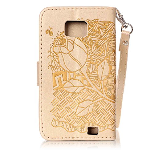 Galaxy SII Coque Rabat,Housse Samsung Galaxy S2 Bling Bling,Ekakashop Jolie D'or Demi-fleur Strass étoiles Paillettes Brillant Design Bookstyle Portefeuille à Fermeture Wallet Shell de Protection étui D'or Fleurs Riches