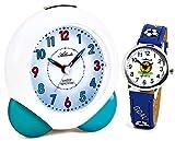 Atlanta Kinderwecker ohne Ticken für Jungen Blau mit Armbanduhr Fußball - 1733-5 KAU