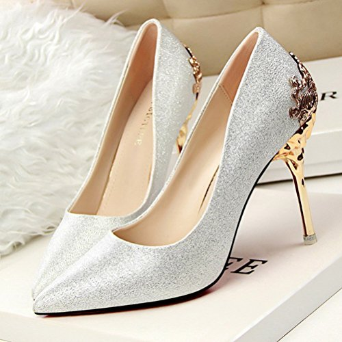 Easemax-Damen-Modisch-Spitz-Pailletten-Metallic-Trendig-Absatz-Stiletto-Pumps