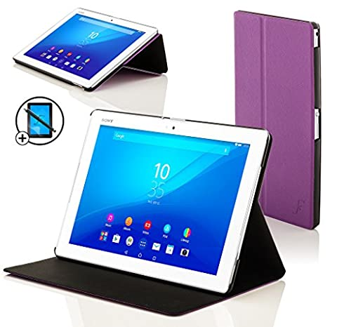 Forefront Cases® Neue Leder Hülle / Tasche / Case / Cover für Sony Xperia Z4 Tablet-PC (25,6 cm 10,1 zoll) SGP771 (Juni 2015) - Rundum-Geräteschutz und intelligente Auto-Sleep-Wake-Funktion mit 3-JAHRES-GARANTIE VON FOREFRONT CASES - inkl. Eingabestift und