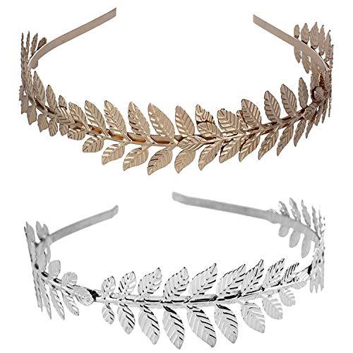 Ouinne 2 Stücke Blatt Niederlassungsleiter zierliche Braut Haar Krone Kleid Haarreif (Gold und Silber)