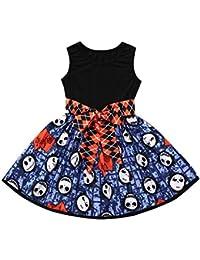 K-youth Vestidos Bebé Niña Vestido de niña Halloween Estampado de Diablo Sin Manga Plisada Bowknot Vestido de Princesa Ropa Niña Party Dresses 2018