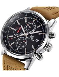 Bernsuisse BENYAR Japanese Quartz Genuine Leather Chronograph Waterproof Wrist Watch For Men 5102 - Brown