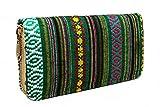 Portemonnaie Damen Ethno Style - Geldbörse Geldbeutel Portmonee mit viel Platz Reißverschluss Boho (Grün)