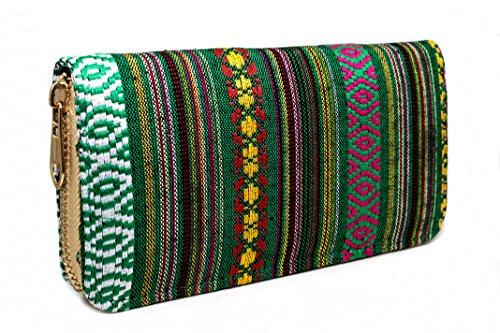 424440b46db18 Portemonnaie Damen Ethno Style - Geldbörse Geldbeutel Portmonee mit viel  Platz Reißverschluss Boho (Grün)