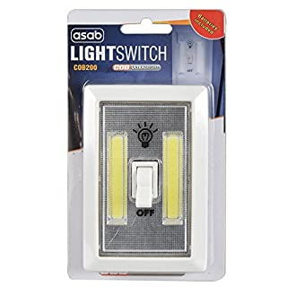 ASAB 2W COB LED Light Switch Super Bright Portable Night Lamp Battery Powered No Wire Ideal Under Cabinet Shed Tent Lighting - Single