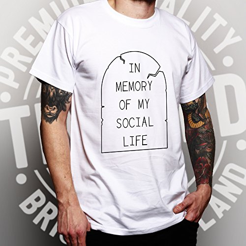 In Memory Of My Soziales Leben Funny Anti Social Slogan Kühlen Herren T-Shirt Yellow