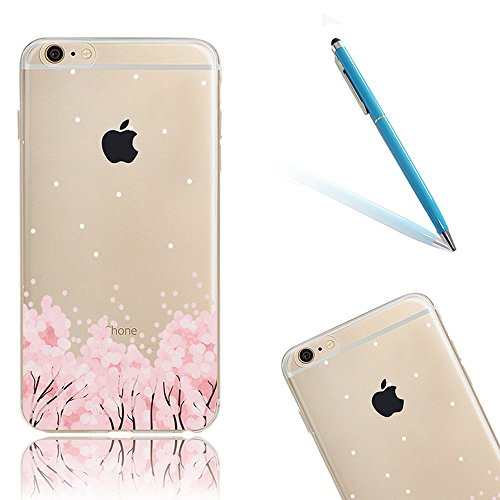 "iPhone 5s Hüllen, 4.0"" Apple iPhone 5/5s/SE Klar mit Muster Softcase, CLTPY Transparent Ultra Dünn Kirschblüten Malereifarbig Silikon Schale Etui, [Kratzfeste] & [Stoßdämpfung] Gummi Fall für iPhone S Kirsche Schnee"