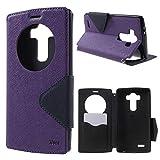 LG G4 View Case Hülle Tasche Flip Cover Klapphülle Schutzhülle Flip Case Handyhülle | Premium Design Wallet mit View Fenster | 100% Passgenau | Robuste Silikon-Innenschale | Magnetverschluss | Easy Touch | Aufstellfunktion | Lila Violett