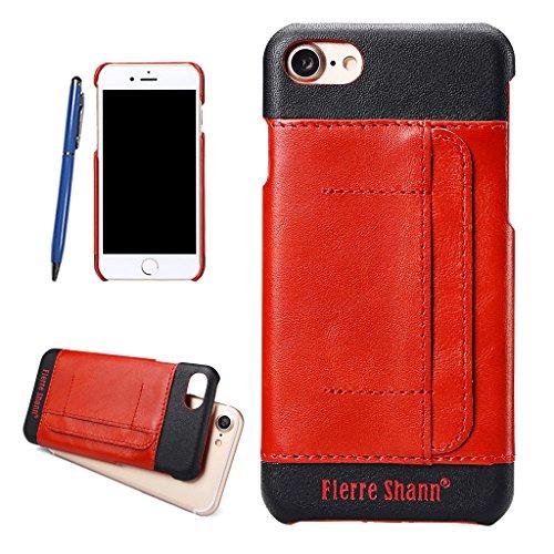 Ultra Dünn Echtem Leder Hülle für iPhone 7,Careynoce Luxus Handgefertigt Schutzhülle für Apple iPhone 7(4.7 Zoll) mit Karten Schlitz -- Schwarz M06