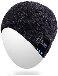 Qshell invierno caliente cómodo Bluetooth Beanie Hat Cap con auriculares inalámbricos Bluetooth Auriculares altavoces estéreo de micrófono manos libres para deportes al aire libre, compatible con celulares Iphone Android - Negro