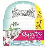 Wilkinson Sword Quattro for Women Sensitive - Lamette per rasoio da donna, confezione da 4 pezzi (3+1 gratis)