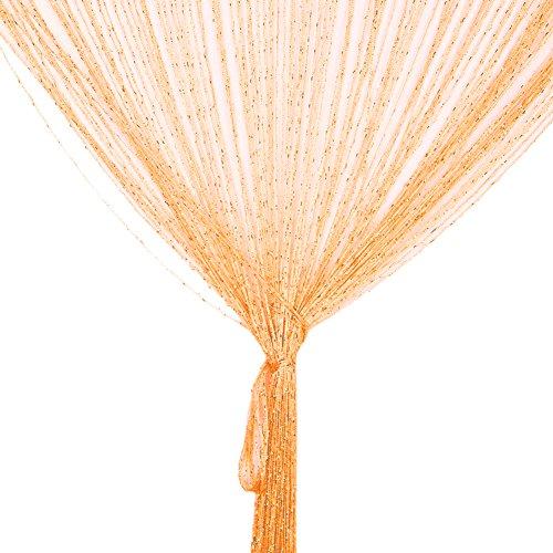 Vidillo Fadenvorhang, Fadenvorhang Glitzer weiss 100 x 200 cm Wandvorhang Schaufensterdekoration, Dekorative Gardine Raumteiler Fliegenschutz für Hochzeit, Café, Restaurant (Orange)