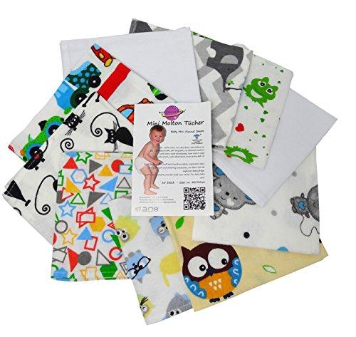 Babymajawelt® - Molton Flanellwindeln mini 40/35 - 10er Pack für Jungen - weiche Spucktücher, Waschlappen -10162