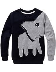 Internet Bébé Garçons enfants Éléphant impression manches longues Tops Col rond Cartoon SweaterShirt