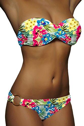 ALZORA Push Up Bandeau Twist Bikini Set Damen Pushup Badeanzug viele bunte Farben und Größen Top + Hose Set , 50001 A14