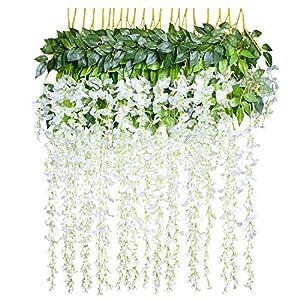 12 Piezas Flores Artificiales Plantas Decoración – YQing Seda Wisteria Artificial Flores Decoración para Boda Hogar