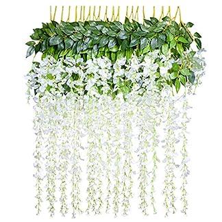 YQing – Flores artificiales para decoración del hogar, cada tira de 110 cm tiene flores de seda de glicinia para decoración de boda, fiesta, hogar, jardín (12 unidades)