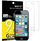 Pack de 2 Verre Trempé iPhone 5 5S SE 5C, NEW'C Film Protection en Verre trempé écran Protecteur - ANTI RAYURES -Dureté 9H Glass Screen Protector pour iPhone 5/5S /5C/SE