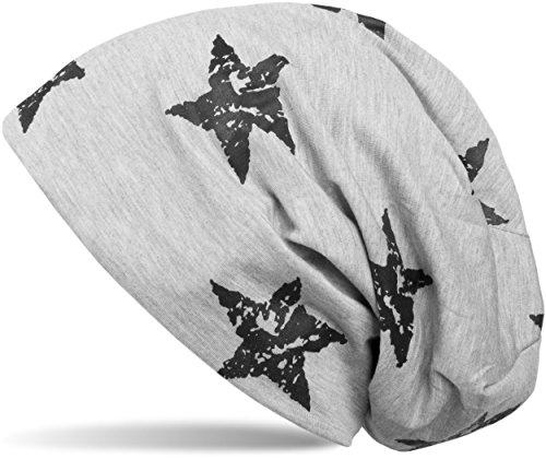 styleBREAKER Beanie Mütze mit Sterne Print im Destroyed Vintage Look, Unisex 04024041, Farbe:Hellgrau