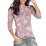 ESAILQ Damen T-Shirt Ladies Long Back Shaped Spray Dye Tee(M,Rosa)