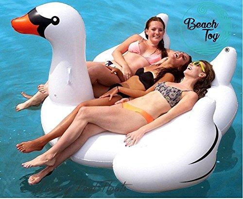 Beach Toy®–Luftbett Riesen Schwan weiß, 2–3Personen, Größe XXL: 190x 190x 130cm, Pool und Strand