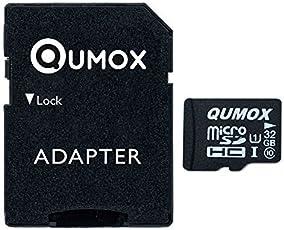 QUMOX, Scheda di memoria, micro SD, 32GB Classe 10, UHS-I, ad alta velocità, velocità di scrittura 15MB/s, di lettura fino a 70MB/s