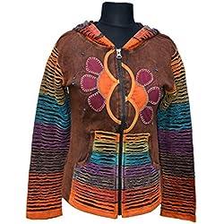 Marrón Remiendo de las mujeres Stonewash chaqueta / sudadera con capucha - ropa alternativa (S / M)