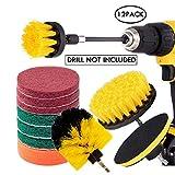 JOQINEER Set di accessori per spazzola per trapano 12 pezzi, spugne e spugne, spazzola per lavaggio a motore con attacco lungo estendibile per tutti gli usi per stucco, piastrelle, lavandini