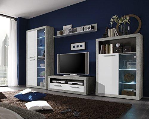 Avanti trendstore - sara - parete da soggiorno in laminato bianco lucido e grigio cemento d'imitazione, illuminazione led compresa, dimensioni: lap 304x194x48 cm