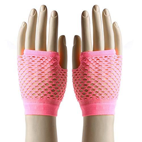 ZHANGYUGEGE Weibliche Punk Mesh Handschuhe Fingerlose Fischnetz Gloveswrist Länge Kostüm Party Tanz Frauen Nylon Lange Handschuh, Rosa