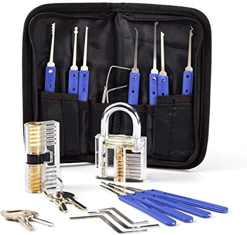 Opard Lockpicking Set,17-Teiliges Dietrich Set mit 2 Transparentem Trainingsschlössern für Schlosserei, Anfänger und Profisrleicht,Polizei oder Hobby -